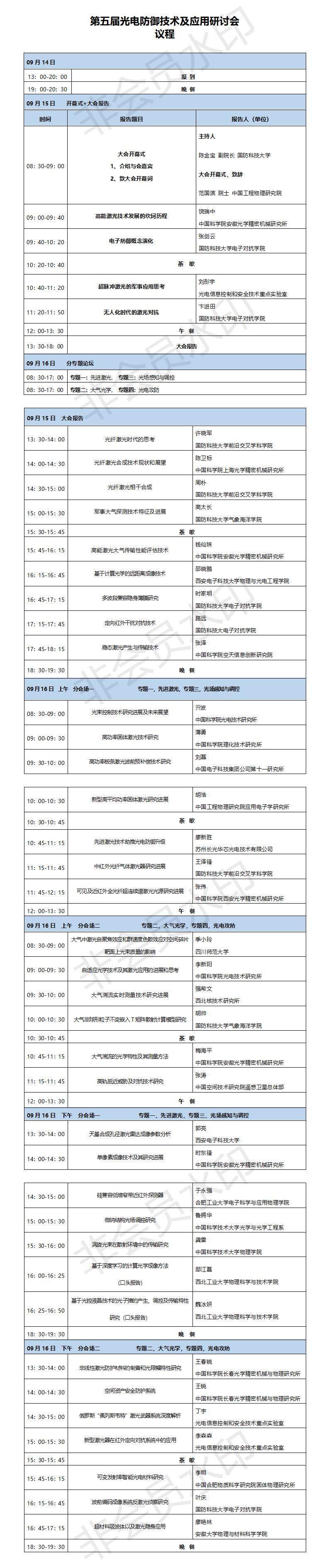 【议程】第五届光电防御技术及应用研讨会(0907)
